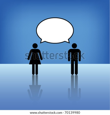 Man and woman talk with balloon. Eps10 vector.
