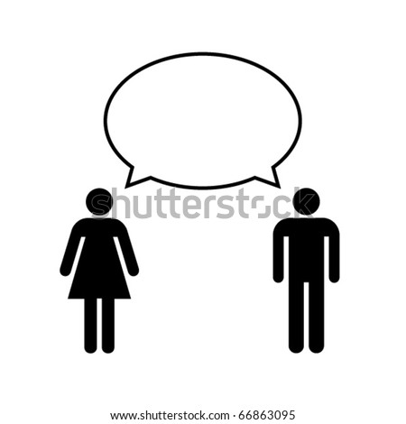 Man and woman talk with balloon. Vector.