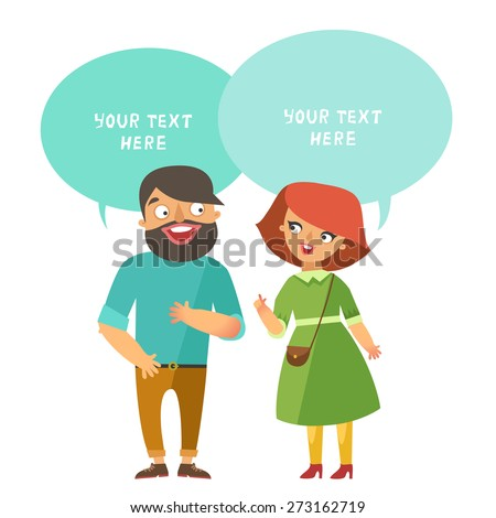 Man and woman talking. Vector Man and woman fashion couple in flat design and dialog speech bubbles for text