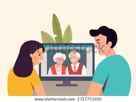 Man and woman talking with their parents  by videochat. Vector flat style Illustration