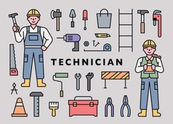 Man and woman technician characters in work clothes. Repair equipment icons collection. flat design style minimal vector illustration.
