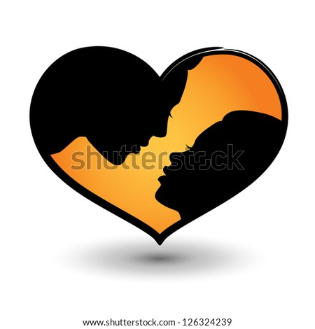 Man and woman together, vector heart shaped icon with shadow