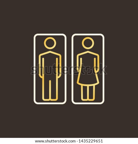Man and Woman Toilet colorful outline icon. Vector WC concept linear symbol on dark background #1435229651