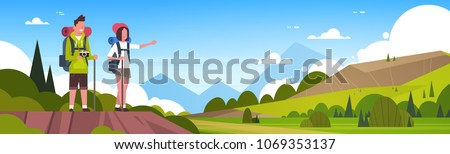 Man And Woman Tourists With Backpacks Over Beautiful Nature Landscape Background Couple Hiking Horizontal Banner