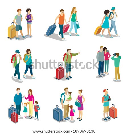 Man and woman traveler with suitcase and bag set. Isolated passenger person cartoon characters on vacation with backpack baggage icons. Tour or journey isometric vector illustration