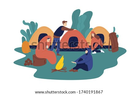 Man and woman travelling together resting at summer camp vector flat illustration. Group of tourist people relaxing near campfire isolated on white background. Colorful travel person at camping tent