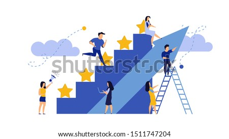 Man and woman vector business reward satisfaction employee. Feedback graphic illustration leader competition. Steps stars feedback work concept. Job motivation company evaluation good quality rating