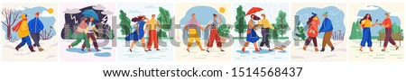 Man and woman walking in rain vector. Couples strolling in summer and winter. People wearing warm clothes in winter, person walking dog. Thunderstorm and rainfall outdoors, characters. Various weather