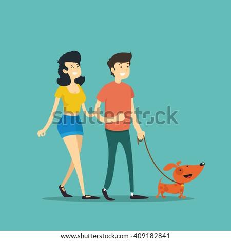 man and woman walking vector