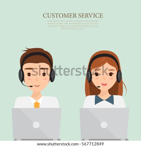 man and woman wearing headsets