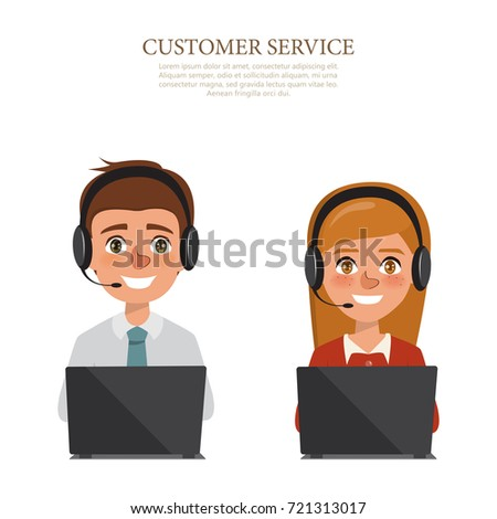 man and woman wearing headsets conceptual of client services and communication. call center service job character.