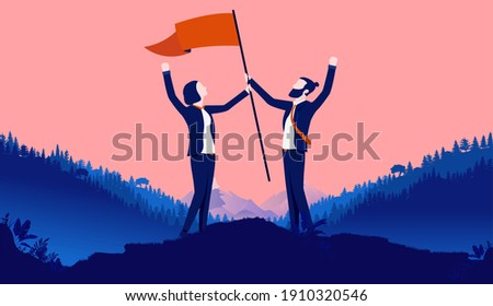 Man and woman winning and celebrating victory together with raised flag. Gender equality in the workplace and business concept. Vector illustration. Сток-фото ©