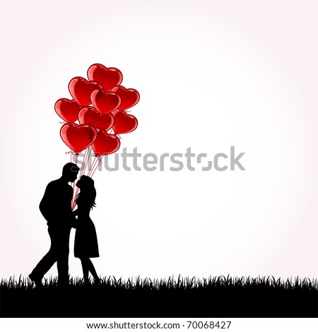 Man and Woman with Balloons, illustration