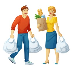 Man and woman with grocery bags isolated on white background. Cartoon people illustration food shopping