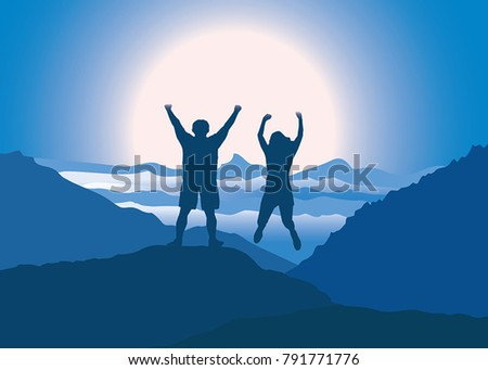 man and woman with hands up