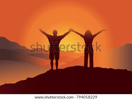 man and woman with hands up  on