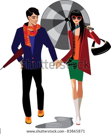 man and woman with umbrella