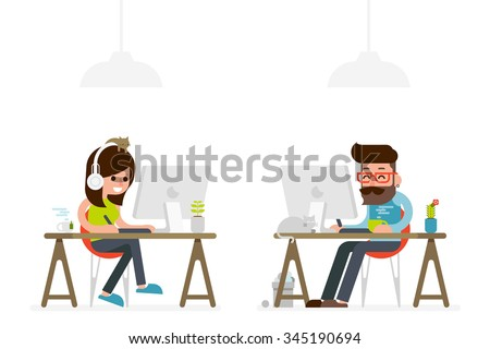 man and woman working on computer flat style cartoon.