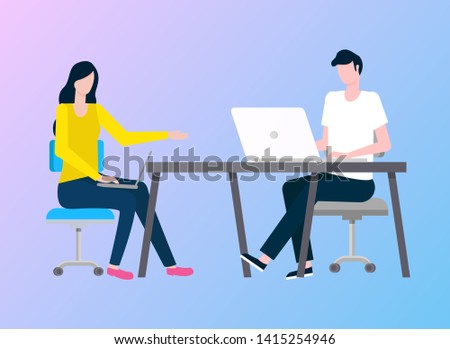Man and woman working vector, colleagues with laptop and computer programming people, flat style. Person sitting by table with coworker in office