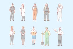 Man and womans proffesions, jobs set concept. Men women, boys girls have different occupation. Collection of policeman, cooker, gardener, waiter, doctor, builder, firefighter, maid, postman Labor day