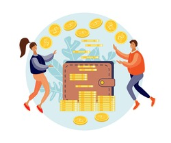 Man and women collecting money together in wallet for family budget and savings. Family Finances.Earn Money. Financial Stability. Cash Savings. Save Money. Flat vector illustration.