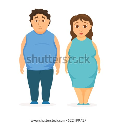 Man and women obesity. Fat people concept.  Sad overweight couple diet.