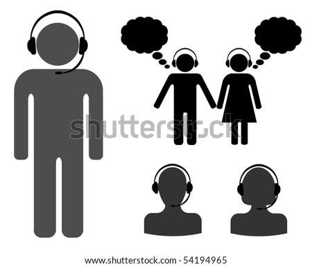 man and women sign with headphones