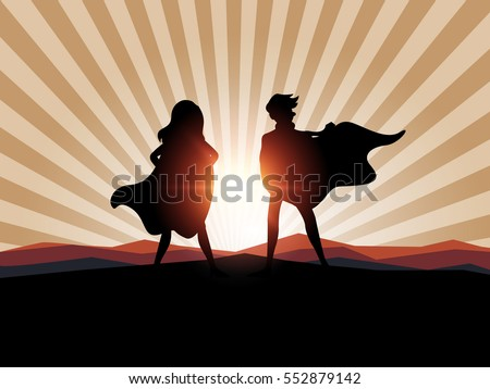 man and women superhero with