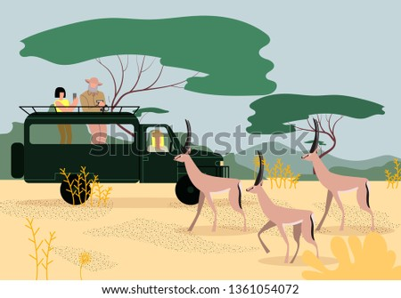 Man and Women Tourists Driving SUV on Safari in Africa, Traveling and Watching Wildlife in Savanna, Making Pictures on Phone and Photo Camera of Beautiful Gazelles. Cartoon Flat Vector Illustration.