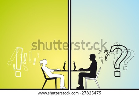 Man and young woman chat - stock vector