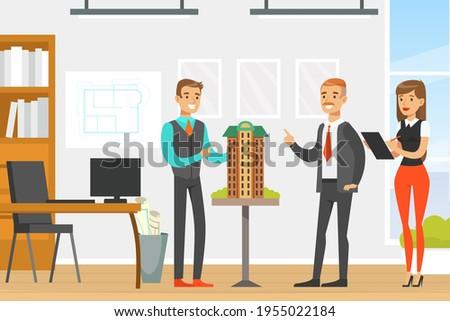 Man Architect Presenting Architectural Model or Maquette of Future Building Vector Illustration Photo stock ©