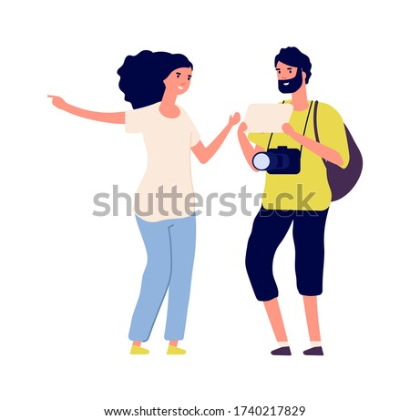 Man ask road. Tourist and young woman. Isolated traveller photographer with backpack. Flat girl and boy talking vector illustration Photo stock ©