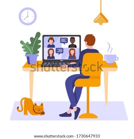 Man at home hold video online conference. Video meeting and interview. Man stay at home, work freelance, e-learning or studying online in laptop. Web chatting. Vector illustration isolated on white
