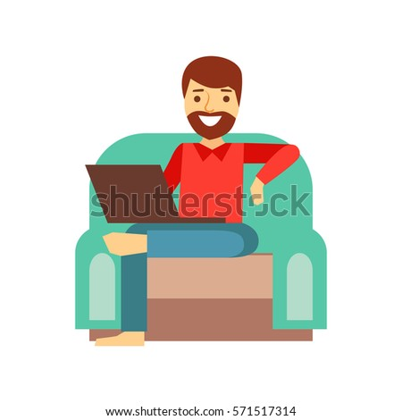 man at home in armchair with