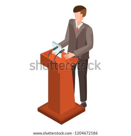 Man at political debate icon. Isometric of man at political debate vector icon for web design isolated on white background Foto stock ©