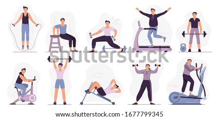 Man at sport gym. Vector illustration set. Sport exercise male character, man do exercise in gym, fitness healthy for body
