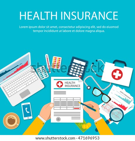 Man at the table fills in the form of health insurance. Healthcare concept. Vector illustration flat design style. Life planning. Claim form. Medical equipment, money, prescription medications