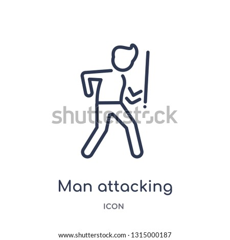 man attacking icon from people outline collection. Thin line man attacking icon isolated on white background.