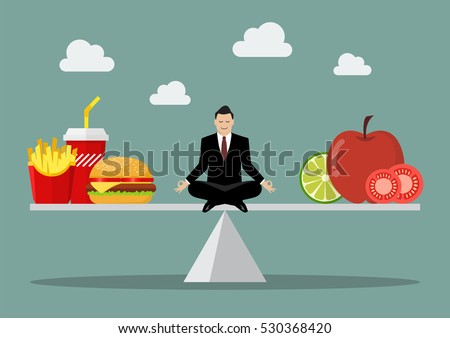 Man balancing between junk food and healthy food. Healthy lifestyle concept