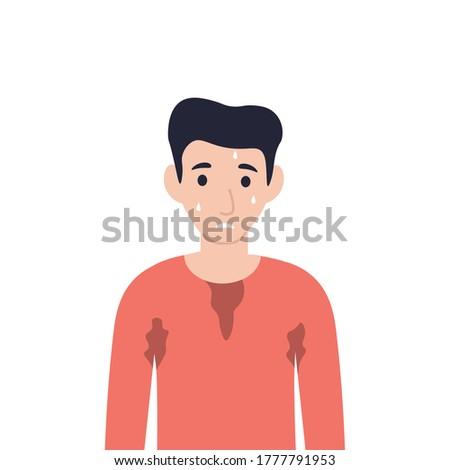 Man bathed in a sweat. Guy sweating a lot. Flat vector cartoon illustration. Сток-фото ©