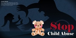 man beat a little girl behind the tattered bear with child abuse issue on dark background