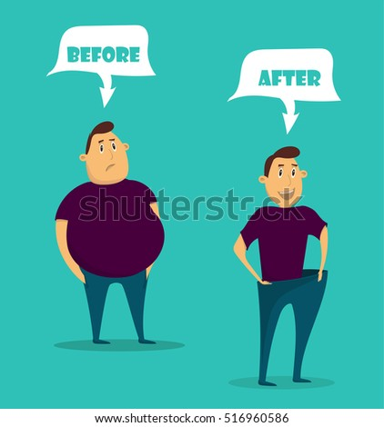 Man before and after weight loss. Cartoon vector illustration. Sad fat man. Healthy slim man in big pants after weight loss . Flat style