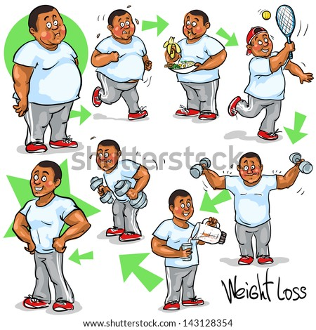 Man before and after weight loss program and training Hand drawn funny cartoon characters sketch isolated