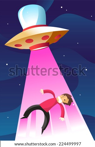 man being abducted by an alien