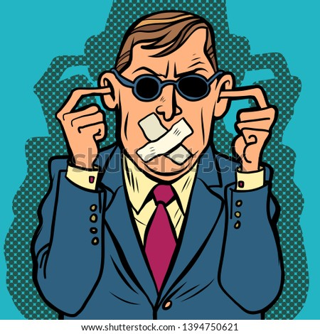 man blind dumb deaf censorship. Comic cartoon pop art retro drawing illustration