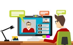 Man Blogger Video Computer. Concept blogging. Video streaming. Video conference Flat Vector Illustration