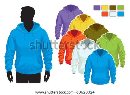 Man body silhouette with colorful collection of sweatshirts
