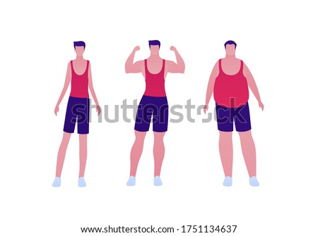 Man body weight concept, Vector flat person illustration set. Collection of males in sport outfit isolated on white. Slim, overweight, strong muscular. Front view. Design for banner, infographic Сток-фото ©