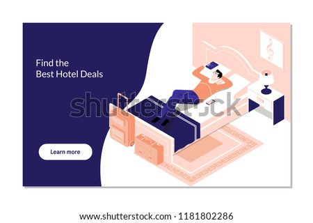 Man Booking Hotel Reservation on Digital Tablet.Vector isometric hotel room icon