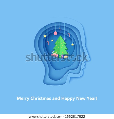 Man brainstorm head in paper cut style. Silhouette of layered human with think of Christmas gift. Origami creative vector concept profile with New Year decorations on the depth of layers cardboard.